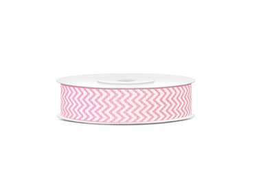 Grosgrain lint 18 mm breed Licht roze met wit zigzag patroon