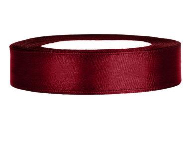 Satijn lint 1 cm Bordeaux rood