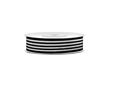 Grosgrain lint 18 mm zwart met grijze streep