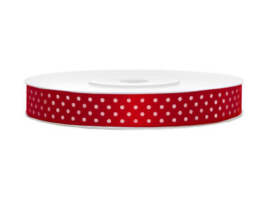 Satijn lint 12 mm Rood met witte stippen