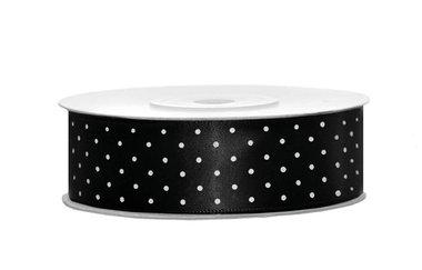 Satijn lint 25 mm zwart met witte stippen