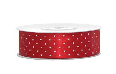 Satijn lint 25 mm Rood met witte stippen