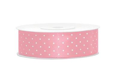 Satijn lint 25 mm Roze met witte stippen