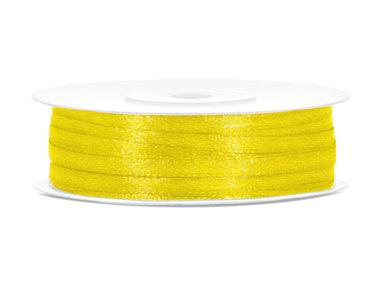 50 meter satijn lint 3 mm geel
