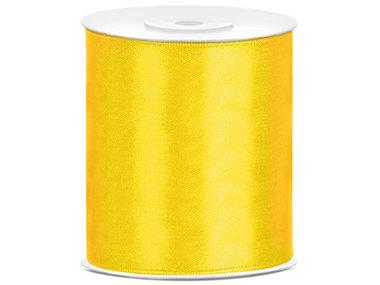 5 meter satijn lint 100 mm geel