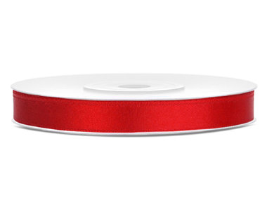 Satijn lint 6 mm Rood
