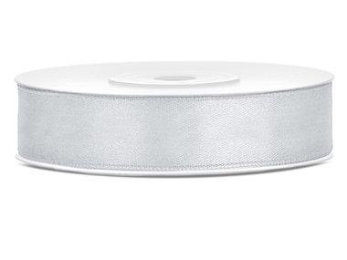Satijn lint 12 mm Zilver