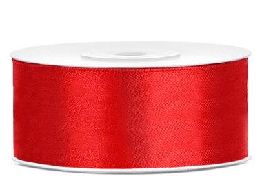 Satijn lint 25 mm Rood