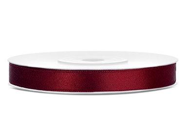 Dubbelzijdig satijn lint 6 mm Bordeaux rood