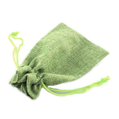 Jute zakje lime groen 7 x 9 cm
