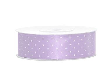 Satijn lint 25 mm lavendel met witte stippen