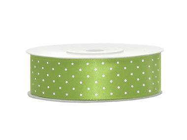 Satijn lint 25 mm lime groen met witte stippen