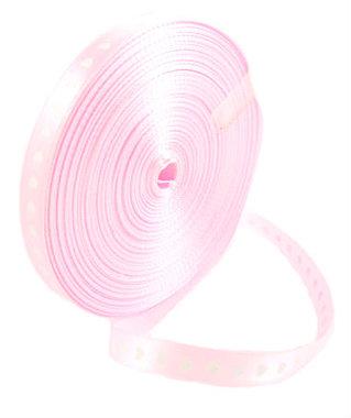 Satijn lint 1 cm roze met witte hartjes