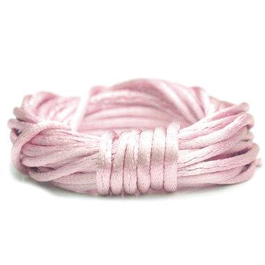Satijnkoord 2 mm licht roze