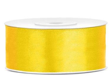 Satijn lint 25 mm geel