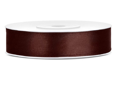 Satijn lint 12 mm bruin
