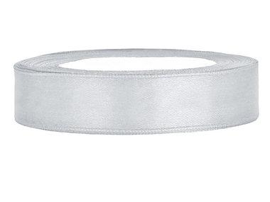 Satijn lint 1 cm zilver