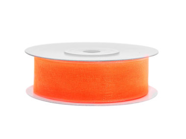 Oranje organza lint 2 cm breed 22.8 meter