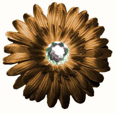Haarclip gerbera bruin