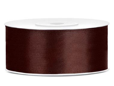 Satijn lint 2.5 cm breed bruin