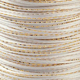 Satijnkoord 2 mm wit met goud draad