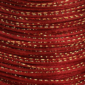 Satijnkoord 2 mm bordeaux rood met goud draad