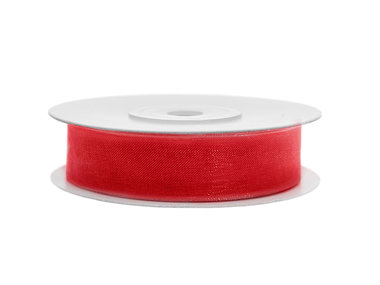 Organza lint 15 mm breed rood