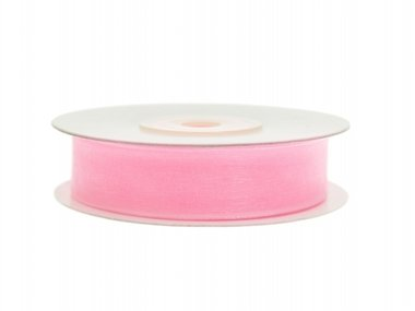 Organza lint 15 mm breed roze