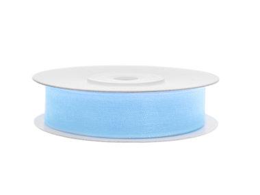 Organza lint 15 mm breed licht blauw 45 meter