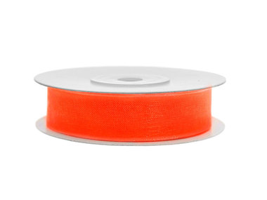 Organza lint 15 mm breed oranje 45 meter