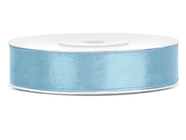 Dubbelzijdig satijn lint 1 cm breed licht blauw