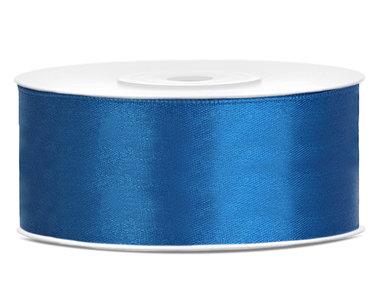 Dubbelzijdig satijn lint 25 mm blauw