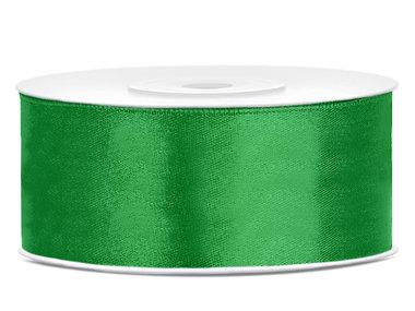 Dubbelzijdig satijn lint 25 mm groen