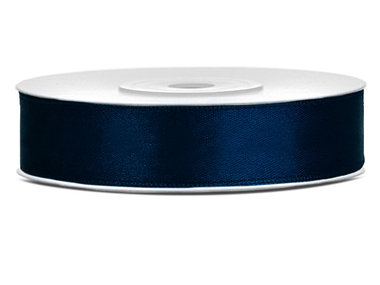 Dubbelzijdig satijn lint 1 cm breed donker blauw