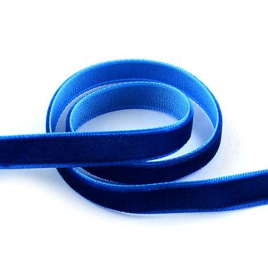 Fluweel lint 1 cm breed blauw