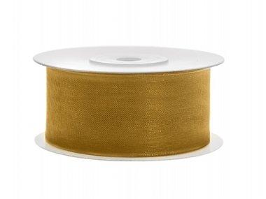 Organza lint 38 mm goud 45 meter rol