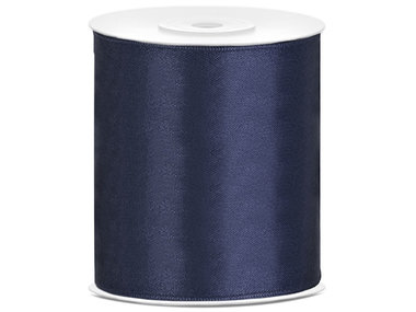 Satijn lint 100 mm donker blauw