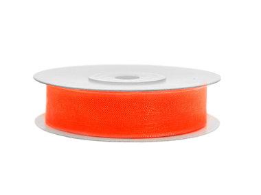 Organza lint 1 cm breed oranje 45 meter rol