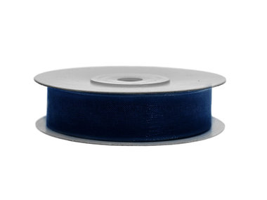 Organza lint 1 cm breed donker blauw 45 meter rol