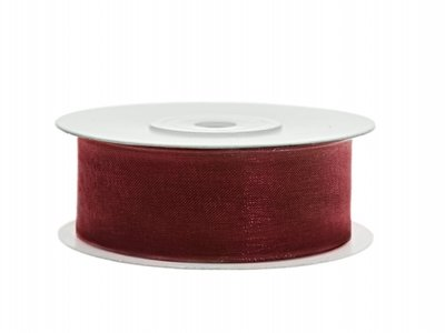 Organza lint 25 mm Bordeaux rood