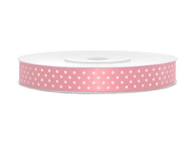 Satijn lint 12 mm Roze met witte stippen