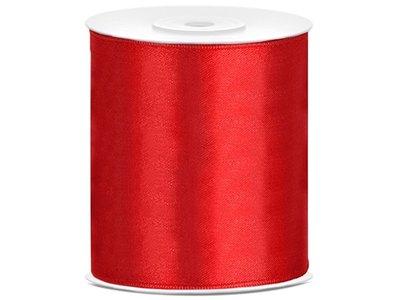 Satijn lint 100 mm Rood