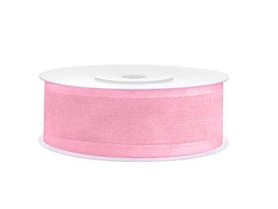 Organza satijn lint 1 cm Licht roze