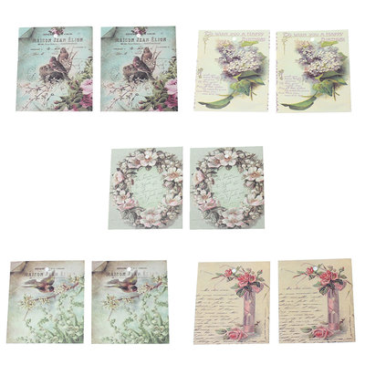 10 Kaartjes Mix vintage Nature