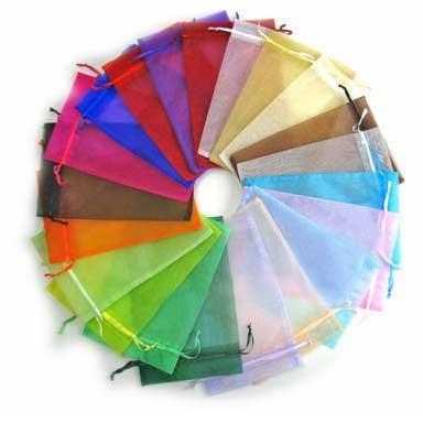 100 organza zakjes 7.5 x 10 cm mix kleuren