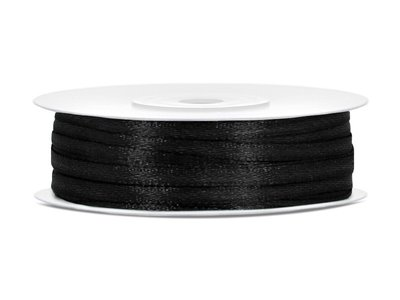 50 meter satijn lint 3 mm zwart
