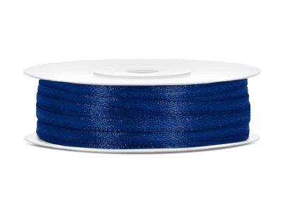 50 meter satijn lint 3 mm donker blauw