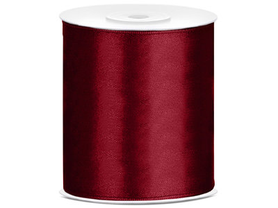 5 meter satijn lint 100 mm bordeaux rood