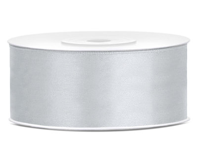 Satijn lint 25 mm Zilver
