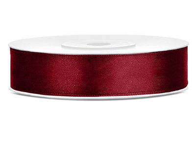 Dubbelzijdig satijn lint 12 mm Bordeaux rood